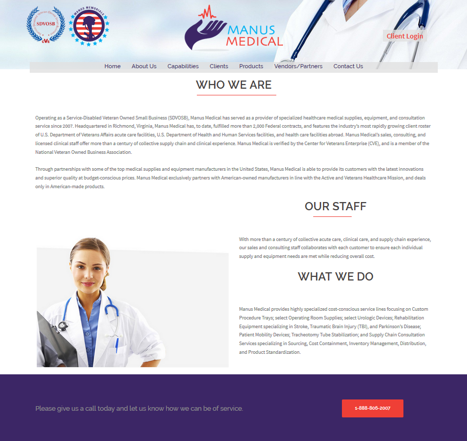 New Manus Medical Public Website, designed and hosted by Axim Solutions, Inc.